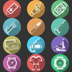 Scuba equipment flat color vector icons