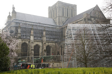 Scaffolding framework for Winchester Cathedral roof