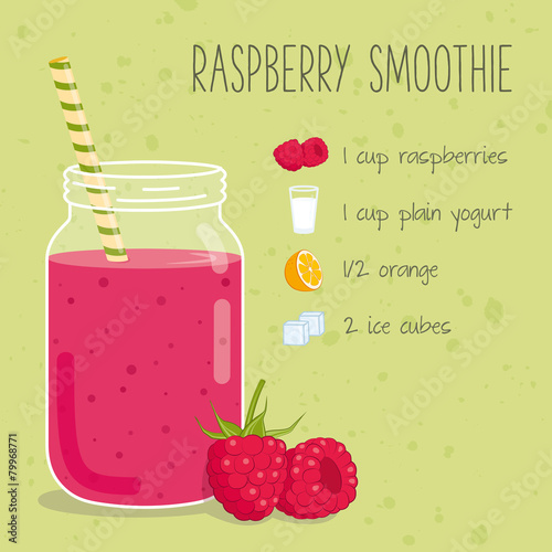 Fototapeta Raspberry smoothie recipe