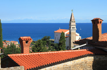 Roofs and temple. Piran, Slovenia