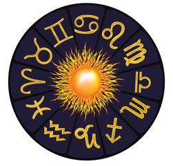 monthly zodiac with the sun in the center of the circle