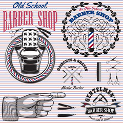 set of icons on a theme barber shop