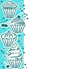 Card with cupcakes in the vector
