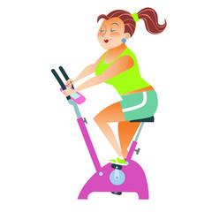 sportsman girl exercise bike