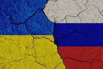 Ukraine versus Russia, flag concept