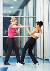 woman at fitness fighting training