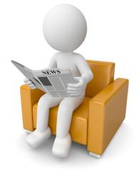 Männchen liest Zeitung