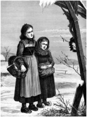 2 Nice Peasant Girls - 19th century