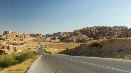 HD time lapse video of road from Petra, Jordan