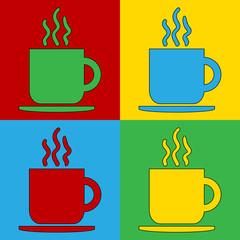 Pop art coffee cup symbol icons.