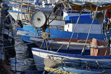 Italy, Portopalo di Capo Passero, fishing boats in the port