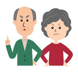 An angry senior couple, senior man scolding