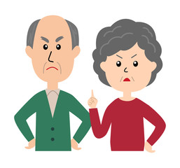 An angry senior couple, senior woman scolding