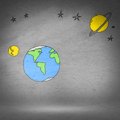 Background image with drawn Earth planet