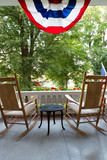 Chairs and Table at the Terrace with American Flag - 79971934