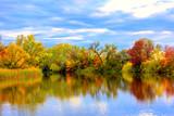 Nice autumn scene on lake poster