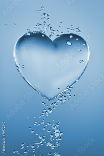 Heart made of water with bubbles on blue gradient background - 79972340