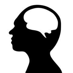 silhouette of the head and  brain. process of human thinking