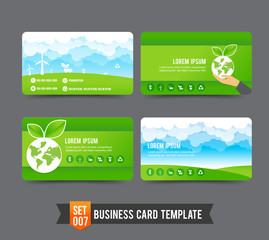 Business Card template set  007 Ecology concept