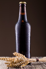 Beer bottle and spica in brown background.
