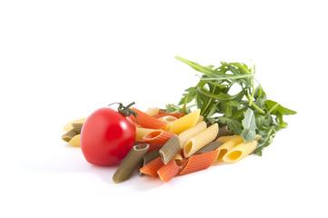 Penne Pasta tomato and arugula on a white background..