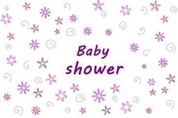 Baby shower  for girl over white background