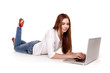 Happy girl with PC on floor - Stock Image