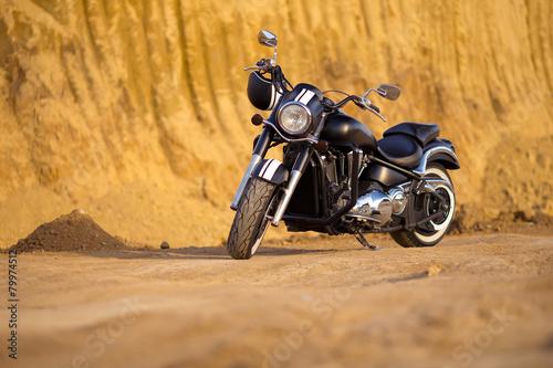 Foto op Plexiglas Motorsport Big, clean, black and unknown chopper bike in desert