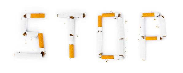 Word Stop made of broken cigarettes