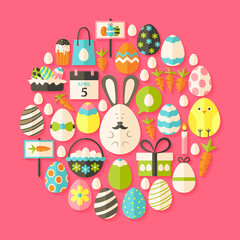Easter holiday Flat Icons Set circular shaped with shadow