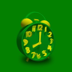 Green alarm clock with yellow numbers ringing.