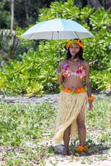 hawaii hula dancer wih umbrella