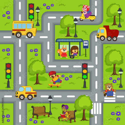 obraz PCV seamless pattern with roads - vector illustration, eps