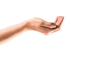 Asking for the help hand gesture isolated over white background
