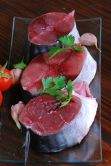 Main courses of bonito tuna, shellfish