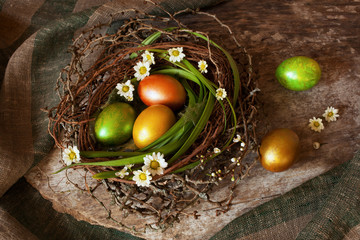 Easter egg nest flowers