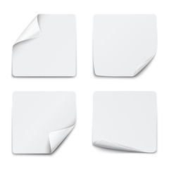 Set of white square paper stickers on white background