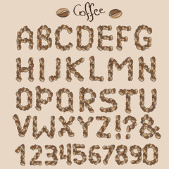 Letters from coffee grains