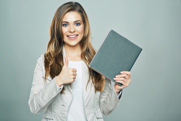 thumb up. business woman hold book isolated