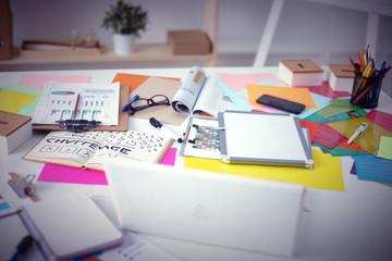 Designer's desk with responsive design concept