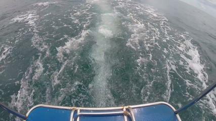 catamaran in the sea back view
