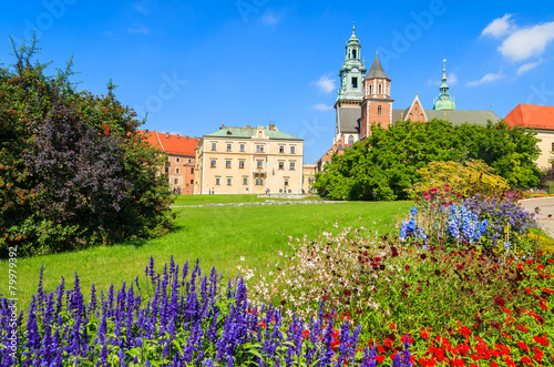 Beautiful Wawel Royal Castle on sunny summer day, Krakow, Poland - 79979392