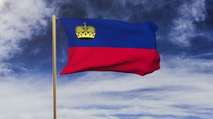 Liechtenstein flag waving in the wind. Looping sun rises style