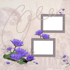 Vintage border or frame with two white copyspace for image and w