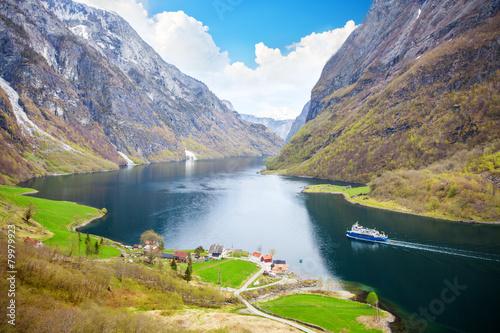 Naeroyfjord - fjord landscape in Sogn og Fjordane region - 79979923