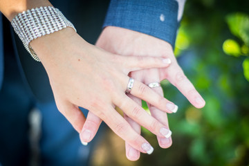 Wedding couple with rings on hands.