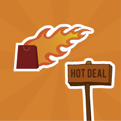 bag and hot deal on orange background
