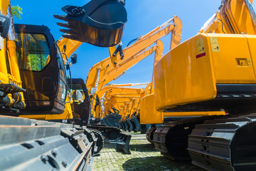 Shovel excavator on Asian machinery  rental company