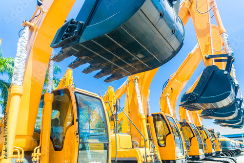 Leinwandbild Motiv Shovel excavator on Asian machinery  rental company