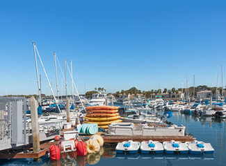 Boat and kayak rentals in busy marina